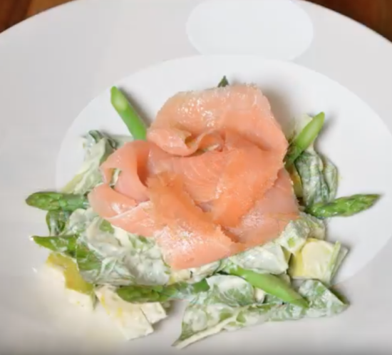 Avocado, Spinach and Asparagus  Salad with Smoked Salmon